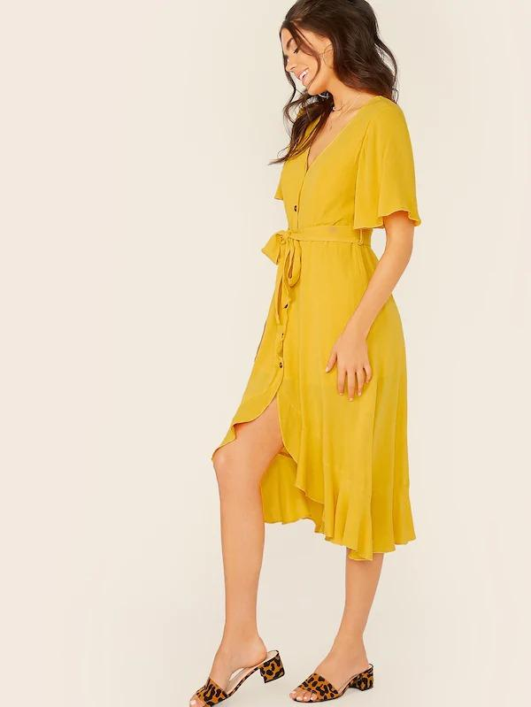 Button Front Split Ruffle Trim Belted Dress