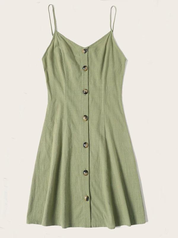 Button Front Tea Cami Dress