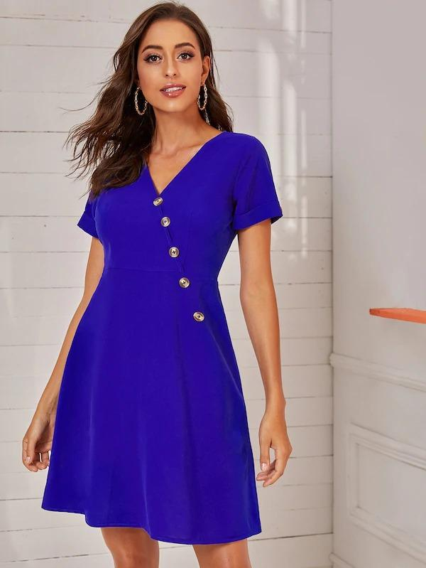 Button Front V-Neck Fit & Flare Dress