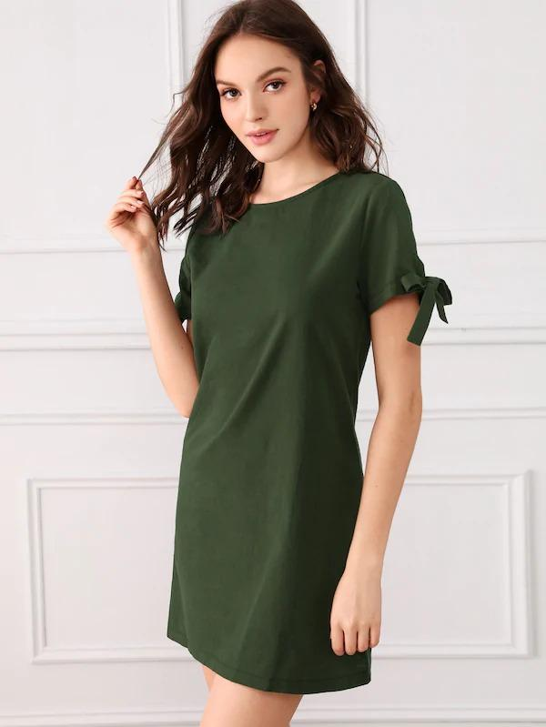 Button Through Back Knot Cuff Dress