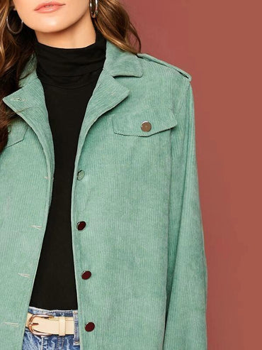 Button Up Solid Cord Coat