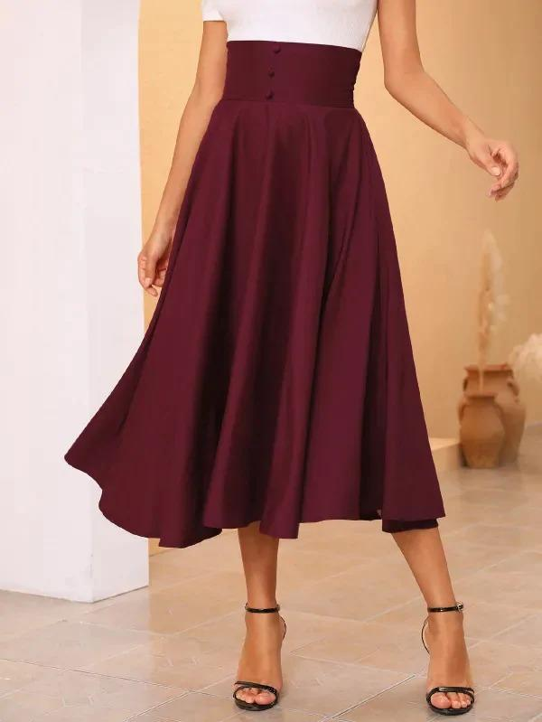 Buttoned Detail Wide Waistband Flare Skirt