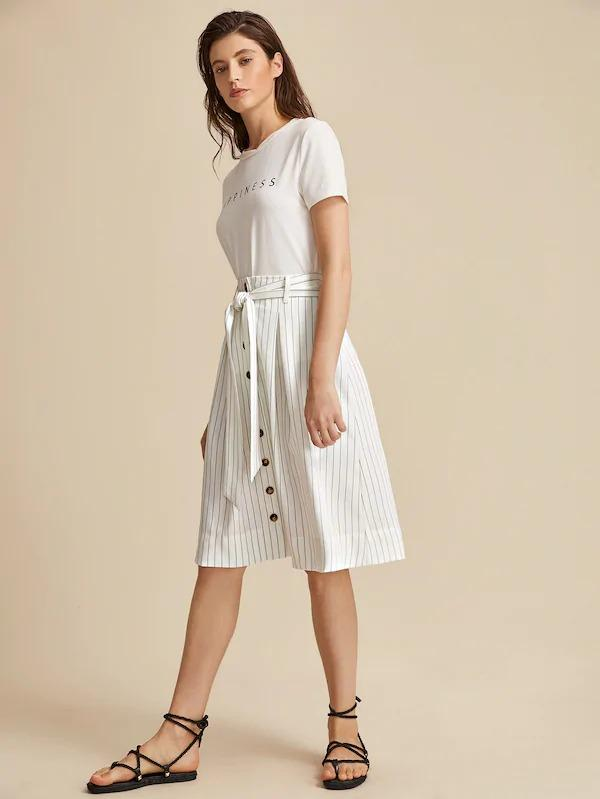 Buttoned Front Self Belted Striped Skirt