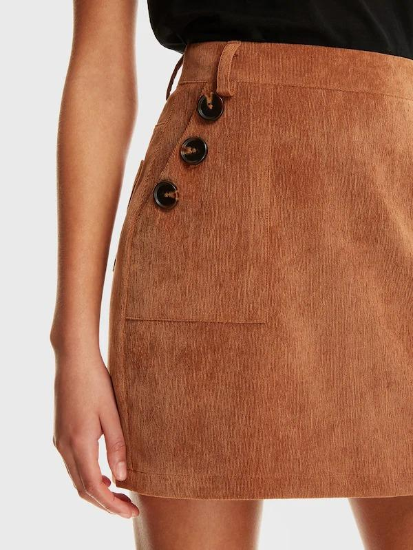 Buttoned Pocket Cord Skirt