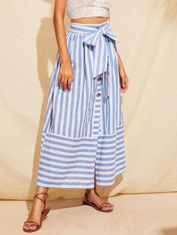 Buttoned Split Front Belted Striped Skirt