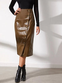 Women Buttoned Front PU Leather Skirt