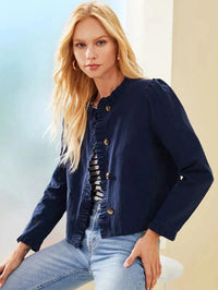 Buttoned Front Ruffle Trim Placket Jacket