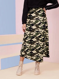 Women Camo Print Flannel Wrap Long Skirt