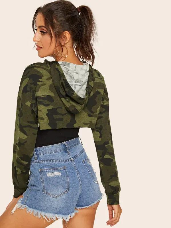 Camouflage High Low Hem Hooded Sweatshirt