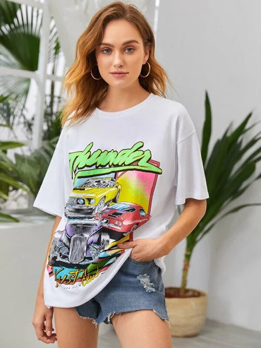 Women Car And Letter Graphic Oversized Tee