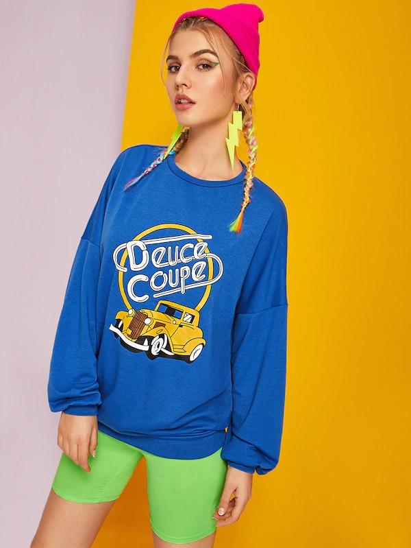 Car And Letter Print Drop Shoulder Sweatshirt