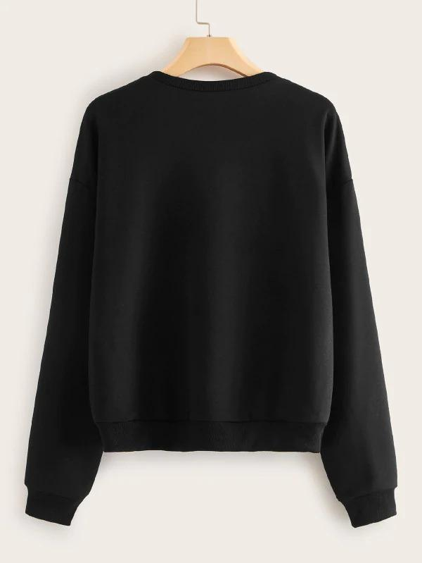 Car & Letter Print Drop Shoulder Sweatshirt