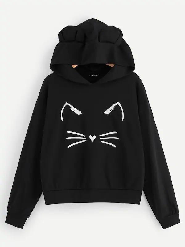 Cartoon Print Hoodie With Ear