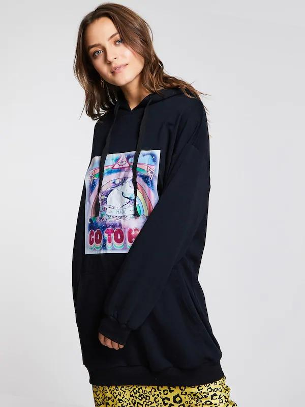 Cartoon Print Longline Drawstring Hoodie