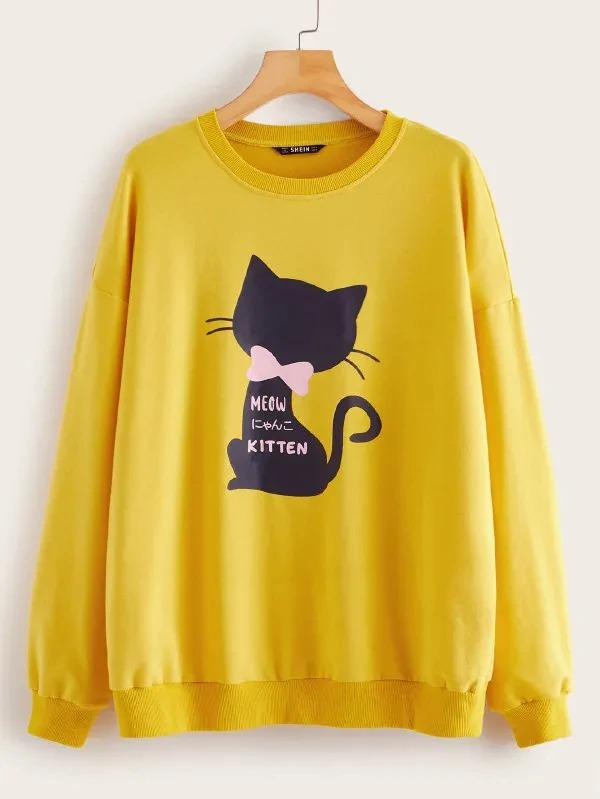 Cat And Slogan Print Pullover