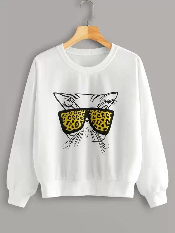 Cat Print Round Neck Sweatshirt