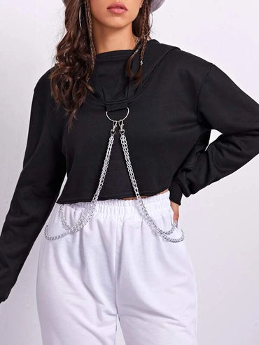 Women Chain Detail Crop Hoodie