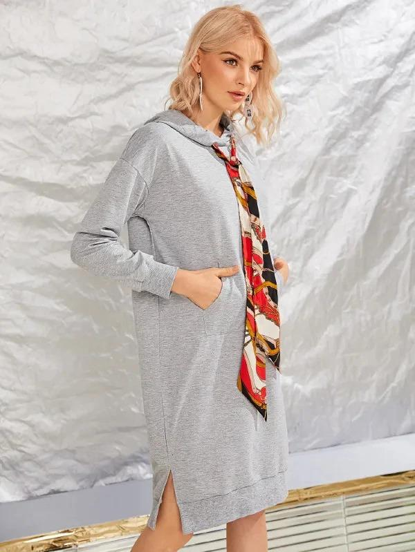 Chain Pattern Drawstring Slit Hem Hoodie Dress