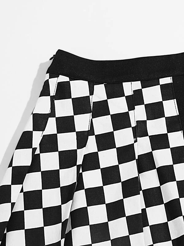 Women Checked Pleated Skirt