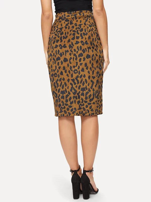 Cheetah Print Split Corduroy Skirt