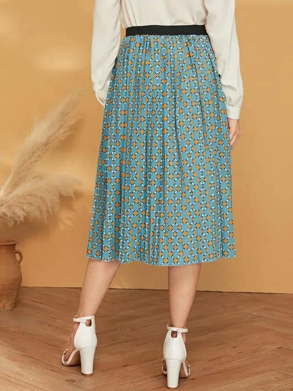 Circle Print Pleated Skirt