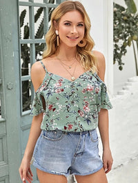 Women Cold Shoulder Botanical Print Top