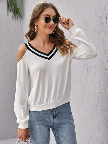 Women Cold Shoulder Striped V-neck Pullover