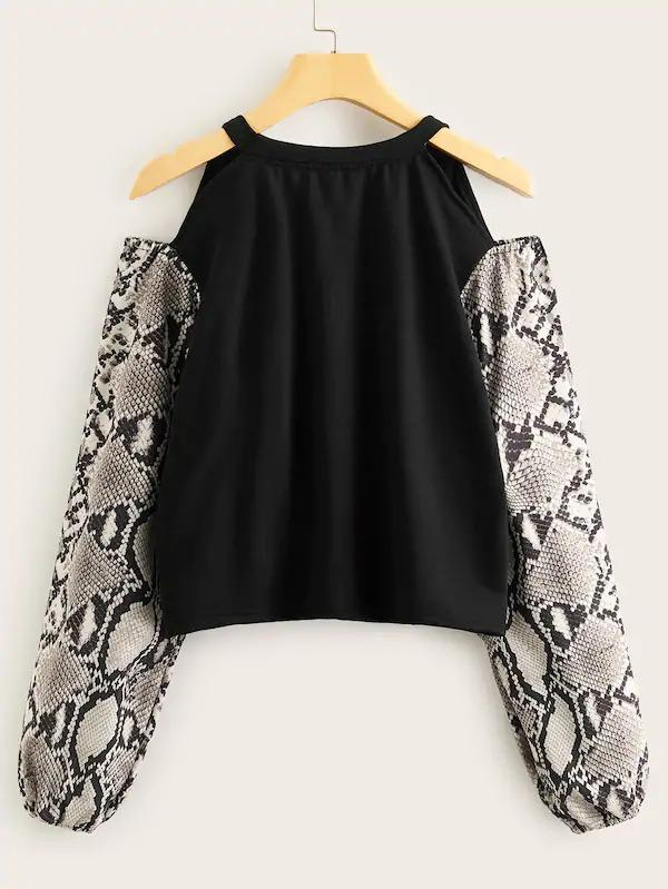 Cold Shoulder Contrast Snakeskin Print Sleeve Sweatshirt