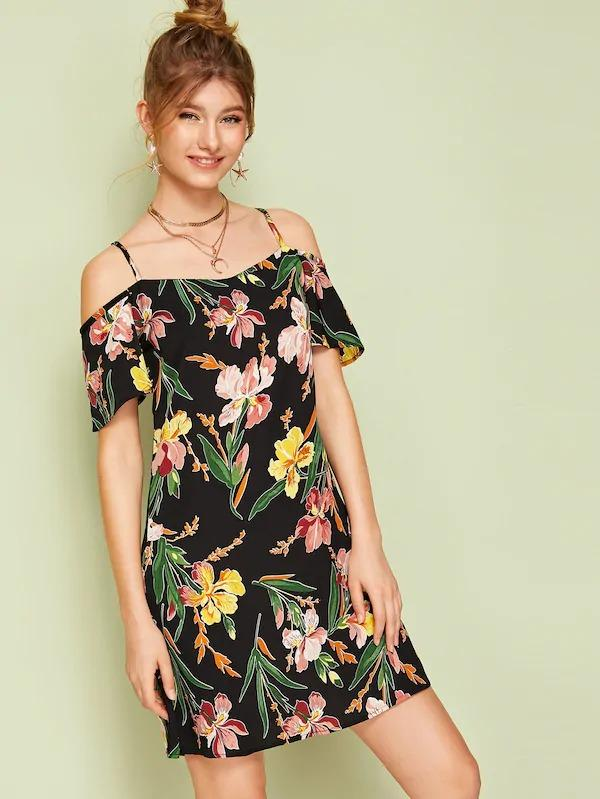 Cold Shoulder Floral Print Dress