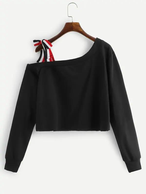 Cold Shoulder Knot Detail Crop Sweatshirt