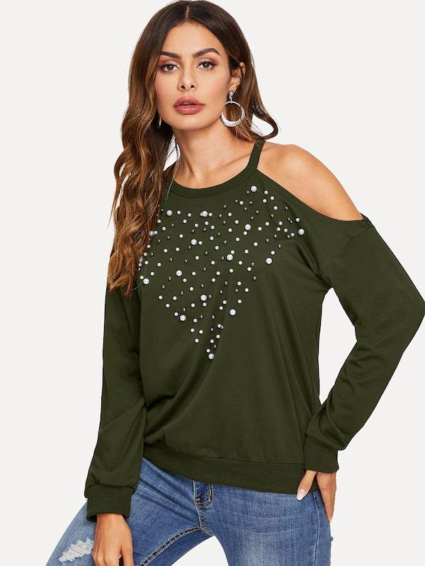 Cold Shoulder Pearl Beaded Pullover