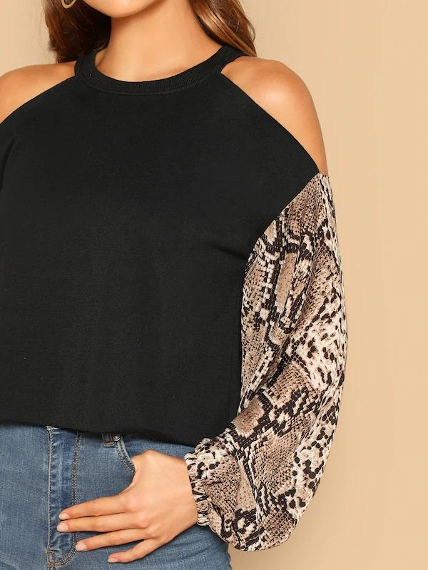 Cold Shoulder Snakeskin Lantern Sleeve Sweatshirt