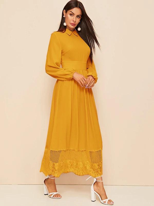 Collared Lantern Sleeve Lace Hem Maxi Dress