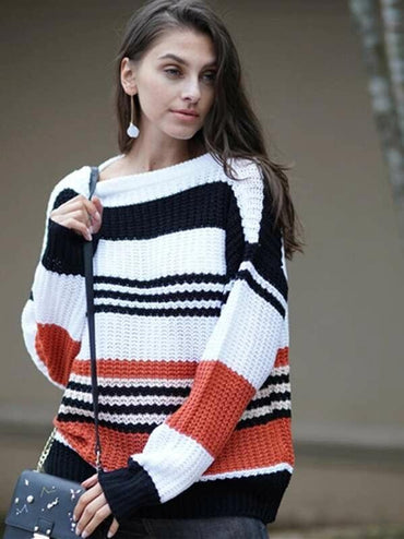 Color Block Pointelle Knit Sweater