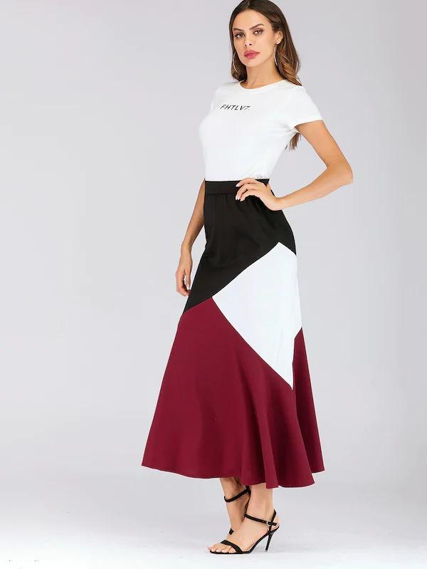 Color Block Ruffle Skirt
