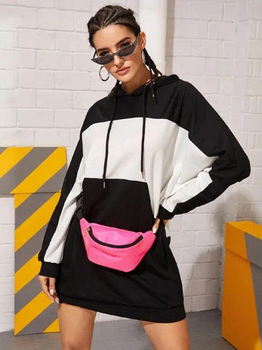 Color-Block Drawstring Hooded Sweatshirt Dress Without Bag