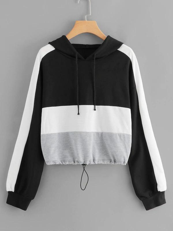 Color-Block Drawstring Hoodie