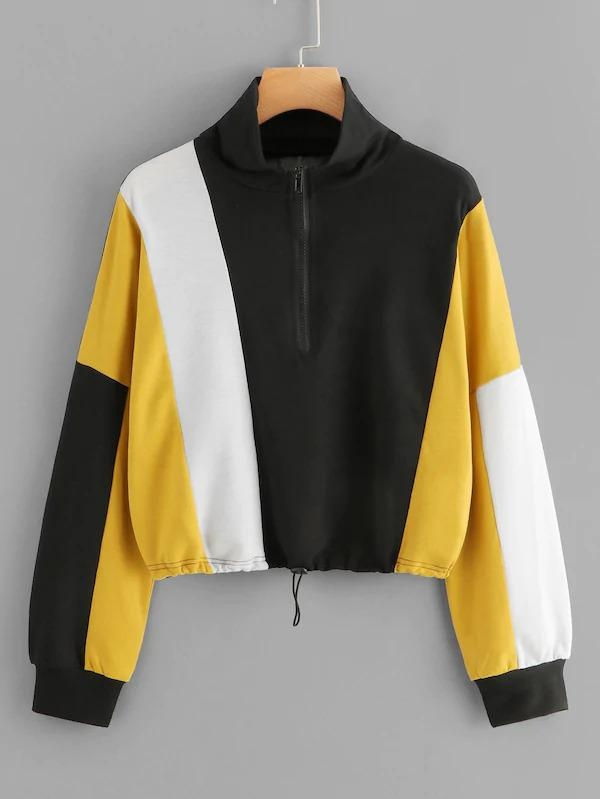 Color-Block Quarter Zip Sweatshirt