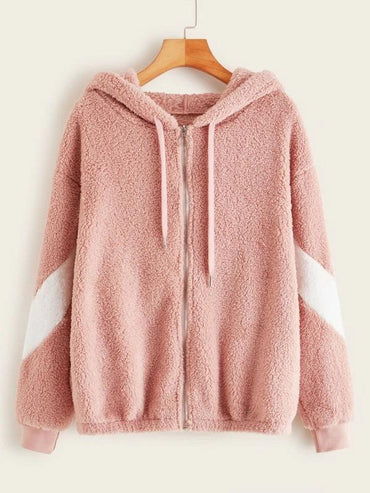 Color-Block Zip Up Drawstring Teddy Hooded Jacket