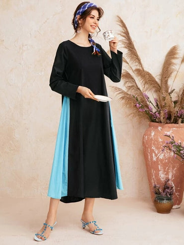 Women Color-block Flare Hem Longline Dress