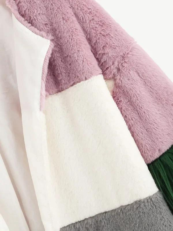Color Block Contrast Faux Fur Coat