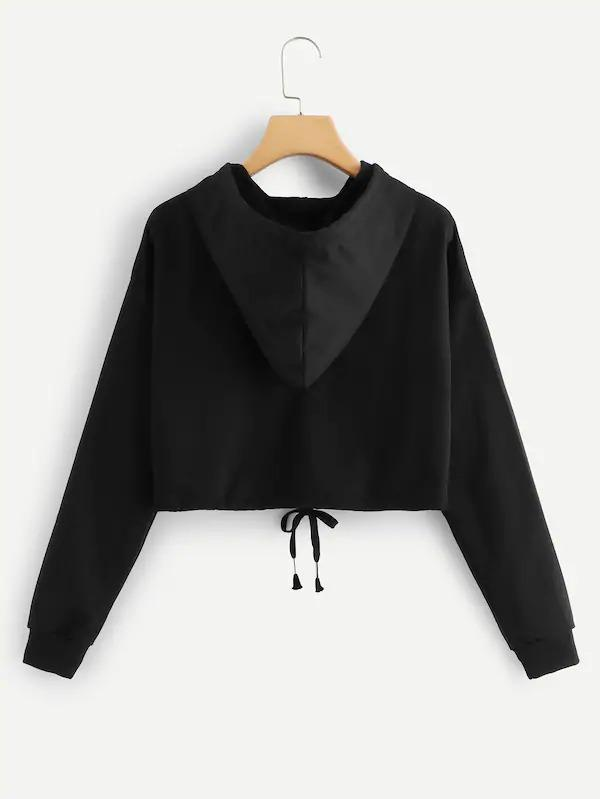 Color Block Drawstring Detail Crop Hoodie