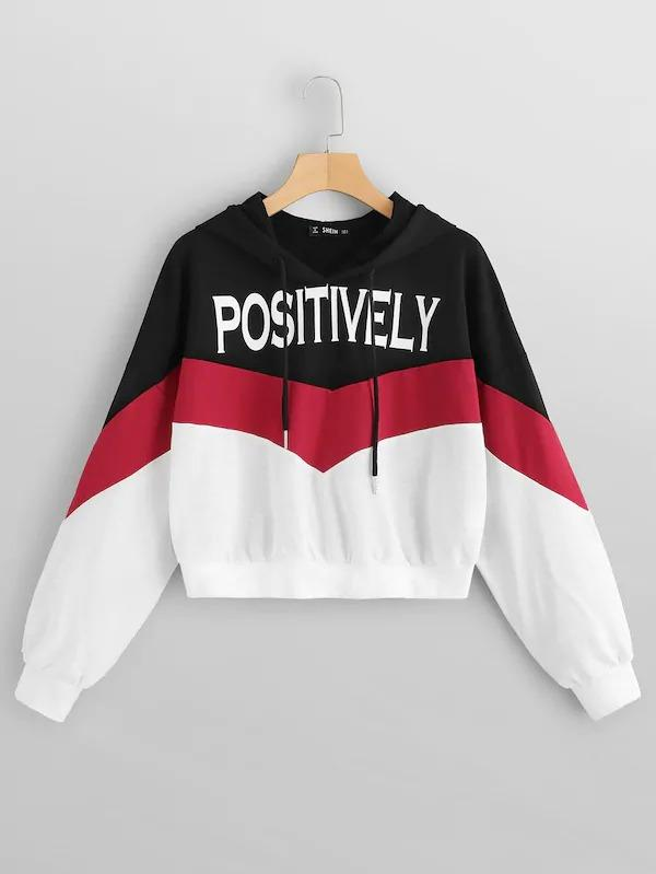 Color Block Drawstring Letter Hoodie