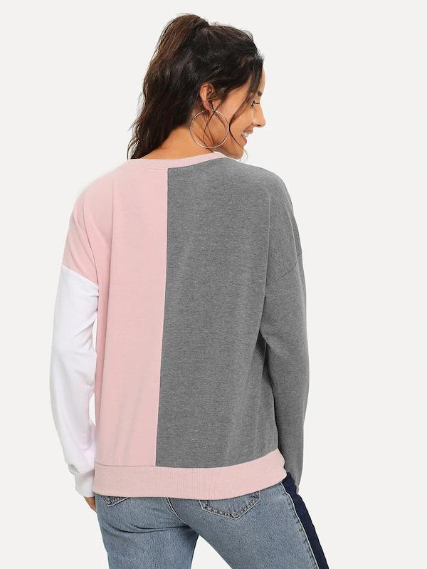 Color Block Figure Print Pullover