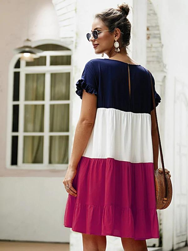 Color Block Frill Ruffle Hem Dress