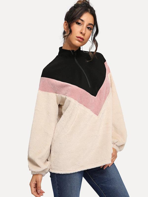 Color Block Half Placket Teddy Pullover Jacket
