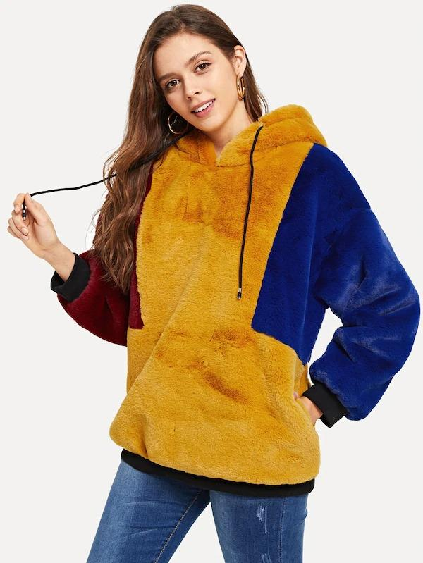 Color Block Hoodie Faux Fur Coat
