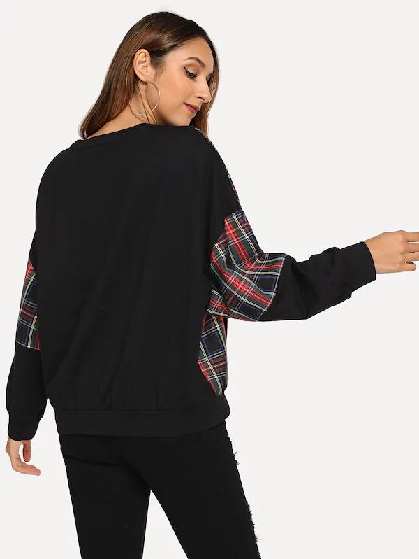 Color Block Plaid Pullover