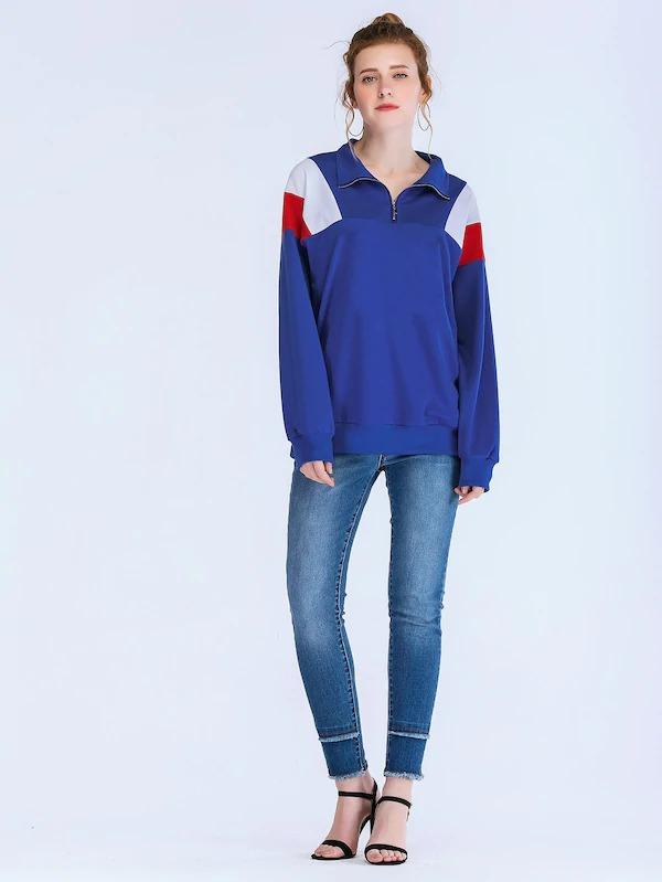 Color Block Stand Collar Sweatshirt