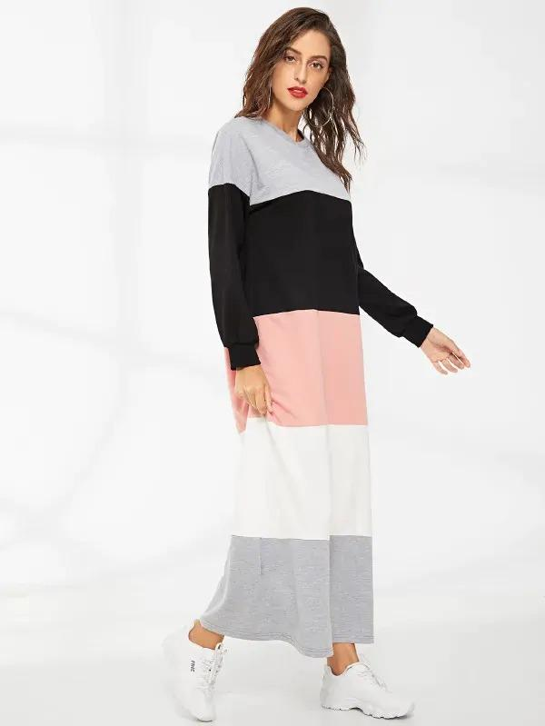 Color Block Sweatshirt Dress